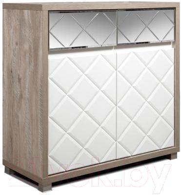 Тумба Мебель-КМК Кристал 2Д2Я 0650.7 (дуб юккон/белый жемчуг)