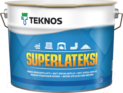 Краска Teknos Superlateksi Base 1 (9л, белый)