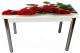 Обеденный стол Solt Рита 1с №114 (кромка белая/царга белая/ноги круглые хром) -