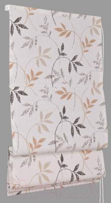 Римская штора Delfa Мини Flora СШД-01М-166/036 (52x160, бежевый/коричневый)