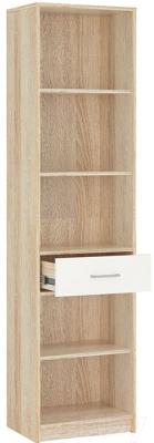 Шкаф-пенал с витриной Империал Стелс 1в1д1ящ (дуб сонома/белый)