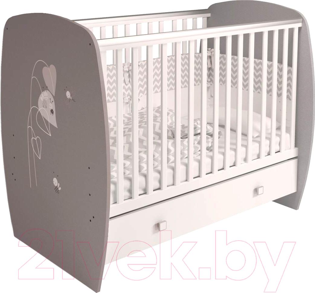Купить Детская кроватка Polini Kids, French 710 Amis с ящиком (белый/серый), Россия, массив дерева