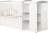 Детская кровать-трансформер Polini Kids French 800 Teddy с комодом (белый/серый) -