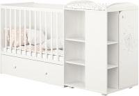 Детская кровать-трансформер Polini Kids French 800 Teddy с комодом (белый) -