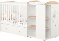 Детская кровать-трансформер Polini Kids French 800 Amis с комодом (белый/дуб пастельный) -