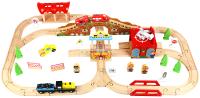 Железная дорога игрушечная Edwone Поезд с вагоном на батарейках / 18А12 (80 предметов) -