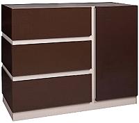 Тумба Мебель-КМК Хилтон 1Д3Я 0651.3 (капучино светлый/мокко глянец) -