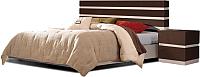 Двуспальная кровать Мебель-КМК 1600 Хилтон 0651.1 (капучино светлый/мокко глянец) -