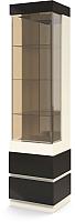 Шкаф-пенал с витриной Мебель-КМК Хилтон 0651.18 левый (капучино светлый/мокко глянец) -