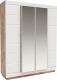 Шкаф Мебель-КМК Роксет 4Д 0554.10 (дуб юккон/белый глянцевый) -