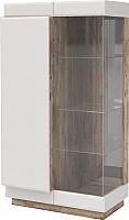 Шкаф с витриной Мебель-КМК Роксет 1 0554.3 левый (дуб юккон/белый глянцевый) -