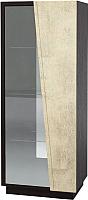Шкаф-пенал с витриной Мебель-КМК Нирвана 0555.5 правый (дуб кентерберри т./камень серый) -