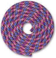 Скакалка для художественной гимнастики Indigo SM-360 (3м, фиолетовый/зеленый/желтый/красный/розовый/голубой/синий) -