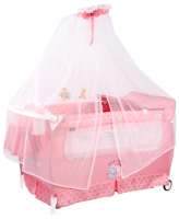Кровать-манеж Lorelli Sleep N Dream Rocker Pink Hippo / 10080342076 -