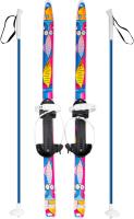 Комплект беговых лыж Цикл Быстрики Коты с креплением и палками (90/90см) -