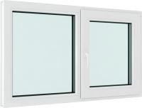 Окно ПВХ Brusbox Roto Двухстворчатое Поворотно-откидное правое 3 стекла (1000x1400x70) -