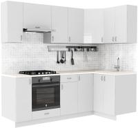 Готовая кухня S-Company Клео глосc 1.2x2.3 правая (белый глянец/белый глянец) -
