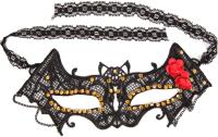 Маска карнавальная White Label В форме летучей мыши со стразами и цветами / 60609 -