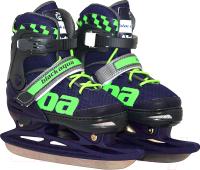 Коньки раздвижные Black Aqua AS-408 (р-р 27-30, темно-синий/зеленый) -