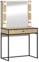 Туалетный столик с зеркалом Ивару Берген 2 (крафт золотой/черный) -