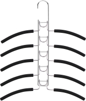 Набор вешалок-плечиков ВешалкиБел М007-1 на 5 плечиков (1шт, черный) -