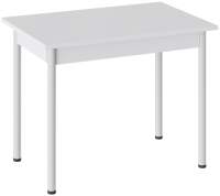 Обеденный стол ТриЯ Родос тип 1 с опорой (белый муар/белый) -