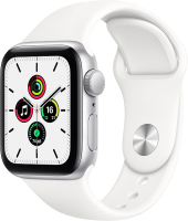 Умные часы Apple Watch SE GPS 44mm / MYDQ2 (алюминий серебристый/белый спортивный) -