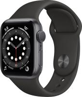 Умные часы Apple Watch Series 6 GPS 40mm / MG133 (алюминий серый космос/черный спортивный) -