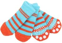 Носочки для животных Puppia Nitty-Gritty / PAND-SO1176-AQ-L (голубые с красными полосками) -