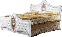 Двуспальная кровать Мебель-КМК Искушение 1 0646 (белый/золото) -