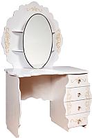 Туалетный столик с зеркалом Мебель-КМК Мелани 1 0434.10-01 (белый/патина золото) -