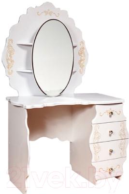Туалетный столик с зеркалом Мебель-КМК Мелани 1 0434.10-01 (белый/патина золото)