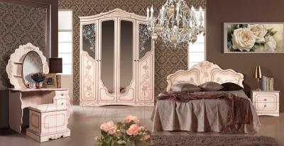 Туалетный столик с зеркалом Мебель-КМК Мелани 1 0434.10-01 (белый/патина золото) - товары коллекции