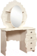 Туалетный столик с зеркалом Мебель-КМК Жемчужина 0380.10 (венге светлый/ясень жемчужный) -