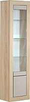 Шкаф-пенал с витриной Мебель-КМК 2Д Лондон 0467.6 (дуб сонома/капучино) -