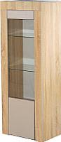 Шкаф-пенал с витриной Мебель-КМК 1Д Лондон 0467.21 (дуб сонома/капучино) -