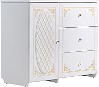 Комод Мебель-КМК Верона 0469.3 1Д3Я (белый/патина золото) -