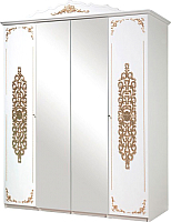 Шкаф Мебель-КМК 4Д Искушение 0402.1 (белый/патина золото) -