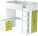 Кровать-чердак детская Polini Kids Simple с письменным столом и шкафом (белый/зеленый) -