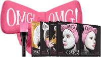 Набор косметики для лица Double Dare OMG SPA Маска 4шт + Кисть + Бант-повязка (ярко-розовый) -