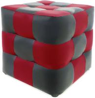 Пуф Brioli Рубик (L20-L19/серый/красный) -