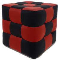 Пуф Brioli Рубик (L22-L19/черный/красный) -
