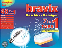 Таблетки для посудомоечных машин Bravix Geschirrreiniger-Tabs 7 в 1 (40шт) -