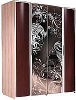 Шкаф Мебель-КМК Магия 0363.6 (дуб шамони/орех шоколад) -