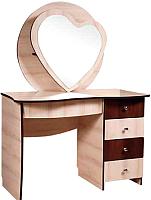 Туалетный столик с зеркалом Мебель-КМК Магия 5Я 0398 (дуб шамони/орех шоколад) -