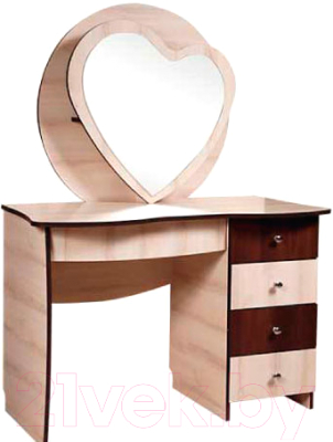 Туалетный столик с зеркалом Мебель-КМК Магия 5Я 0398 (дуб шамони/орех шоколад)