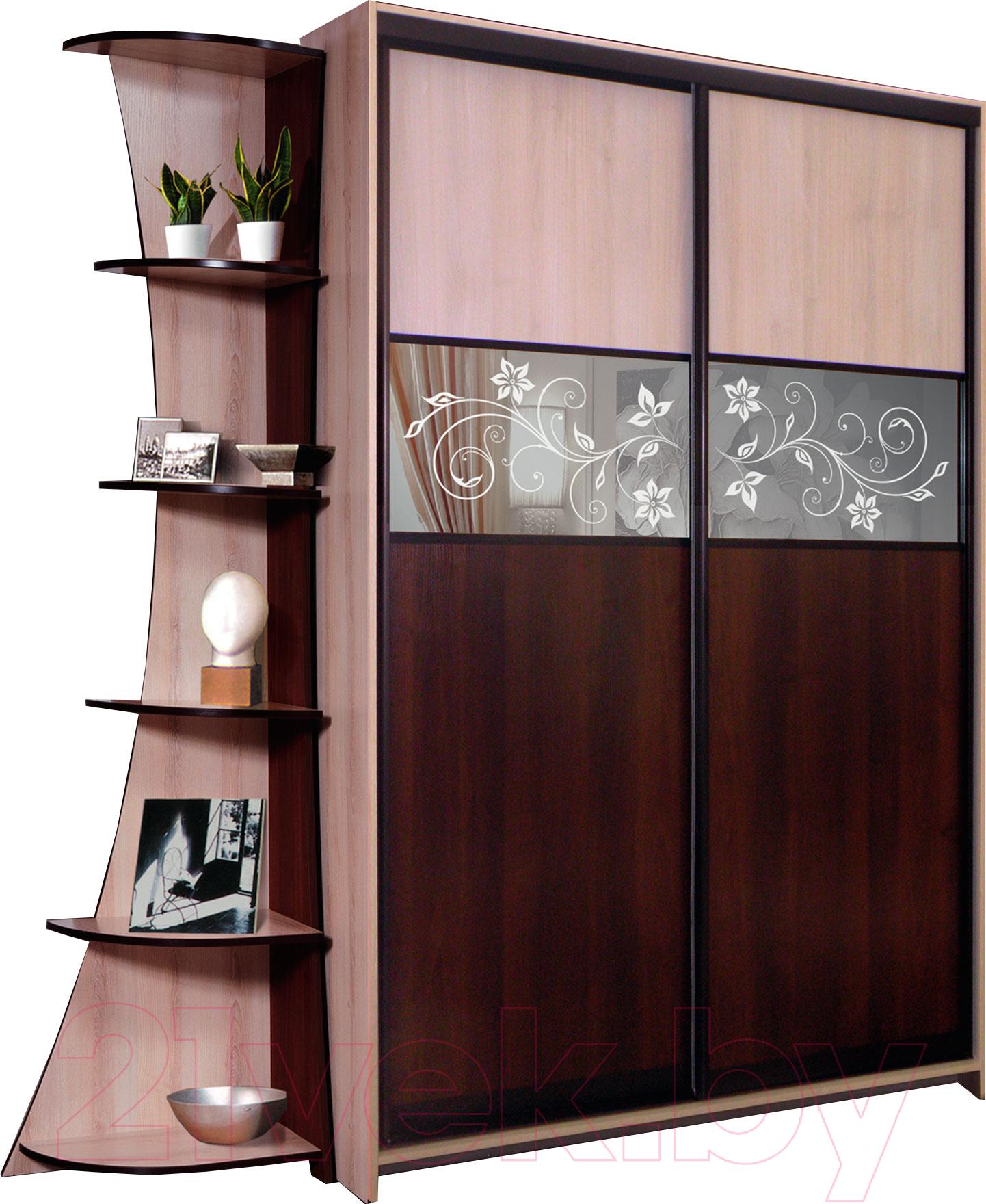 Купить Шкаф Мебель-КМК, Магия-Купе 0443 (дуб шамони/орех шоколад), Беларусь