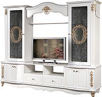 Стенка Мебель-КМК Версаль 0436.1-01 (белый/патина золото) -