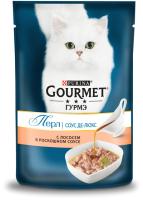 Корм для кошек Gourmet Perle соус де-люкс с лососем (75г) -