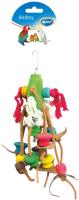 Игрушка для птиц Duvo Plus Подвеска деревянная с кожанными полосками и хлопком / 4745011/DV -